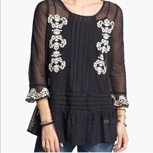 Free People Jocelyn Black Lace Embroidered Tunic